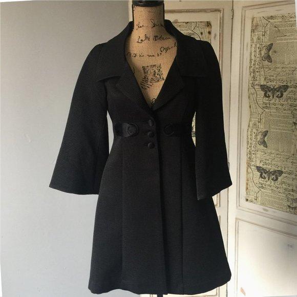 Nanette Lepore Jackets & Blazers - Nanette Lepore Black Fit Flare Dress Coat Sz 2